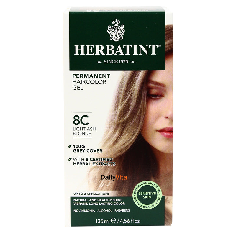 Herbatint Permanent Hair Color Gel - 8C Light Ash Blonde