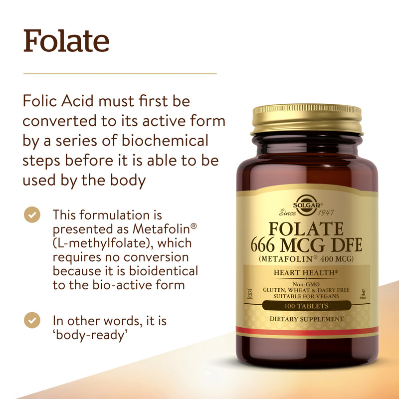 Solgar Folate 400 mcg (as Metafolin) - 100 Tablets