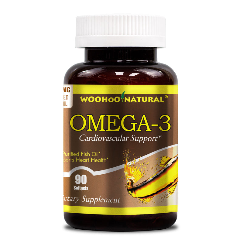 WooHoo Natural Purified Fish Oil, Omega-3 1000mg 90 Softgels