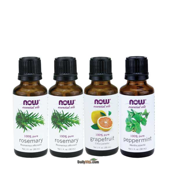 Now Foods Essential Oil Bundle: Air Freshener (Rosemary, Grapefruit, Peppermint)