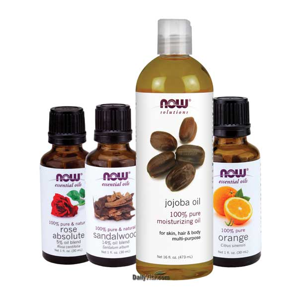 Now Essential Oil Bundle: Anti-Aging Kit A (Orange, Rose Absolute, Sandalwood, Jojoba)