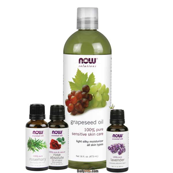 Now Essential Oil Bundle: Anti-Aging Kit B (Lavender, Rose Absolute, Rosemary, Grapeseed)