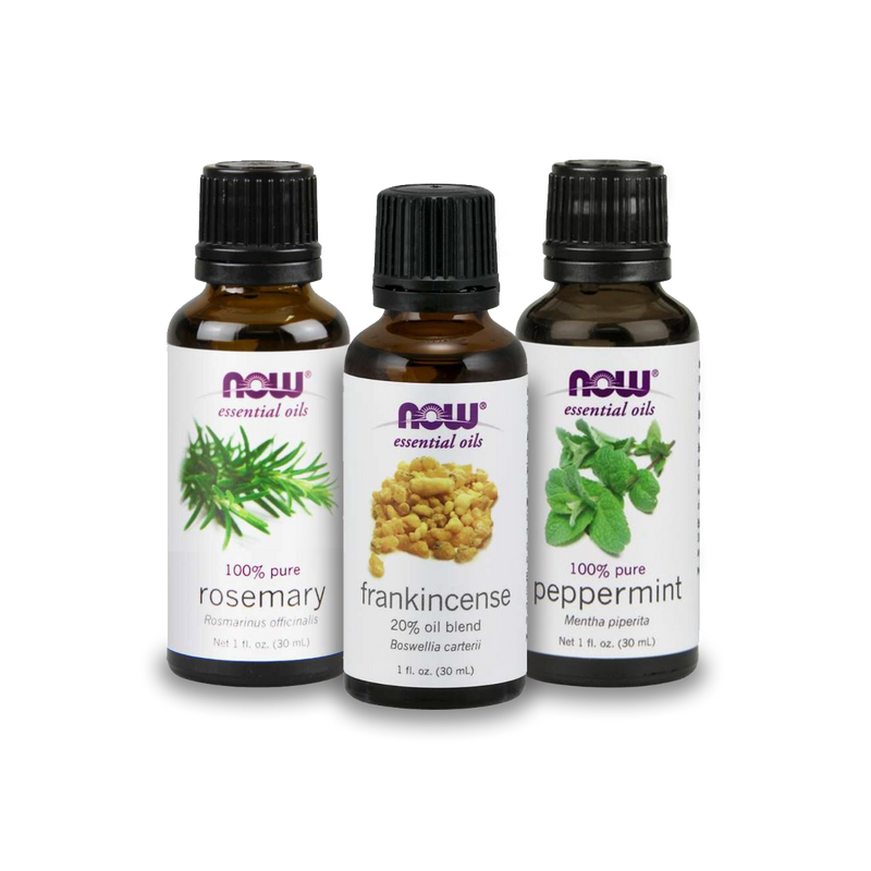 Now Foods Essential Oil Bundle: Back to School Study Session (Rosemary, Frankincense, Peppermint)