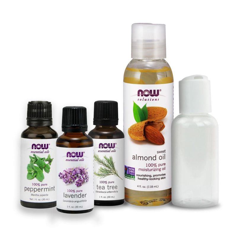 Now Foods Essential Oil Bundle: Mosquito & Bug Bite Soother (Sweet Almond Oil, Peppermint, Lavender, Tea Tree)