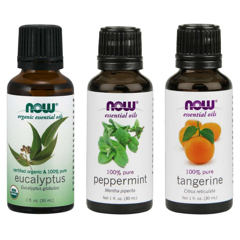 Now Foods Essential Oil Bundle: Mental Focus (Eucalyptus, Peppermint, Tangerine)