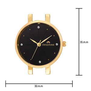 Swisstone JEWELS068-BLKGLD Wrist Watch for Women