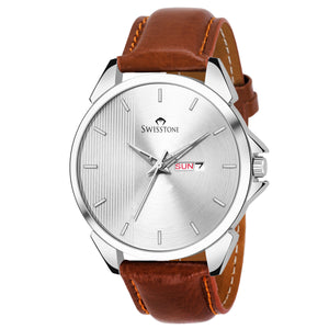 SWISSTONE SW480-SLV-BRW Wrist Watch for Men