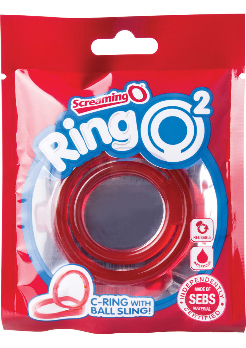 Ring O 2 Cockring With Ball Sling Waterproof Red 12 Each Per Box