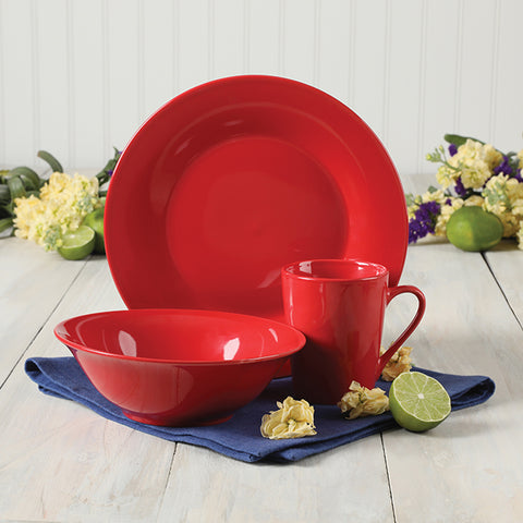 Gibson Carlton 12 Piece Dinnerware Set, Red