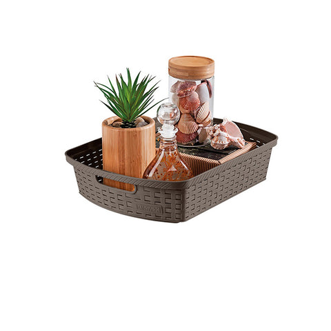 "Rimax 15"" x 11"" x 3"" Storage Basket (Brown)"