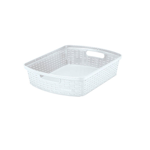 "Rimax 15"" x 11"" x 3"" Storage Basket (White)"