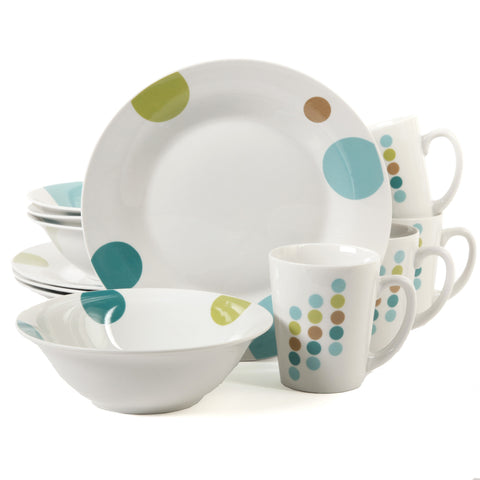 Gibson Home Retro Specks 12 Piece Dinnerware Set, White