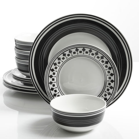 Gibson Home Classic Melody 12 Piece Dinnerware Set, Black/White