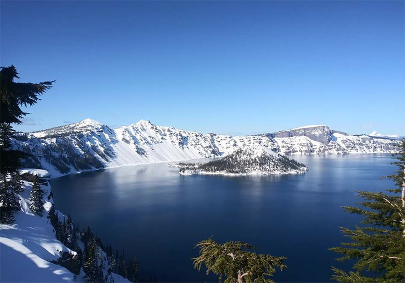 Crater Lake covered in snow