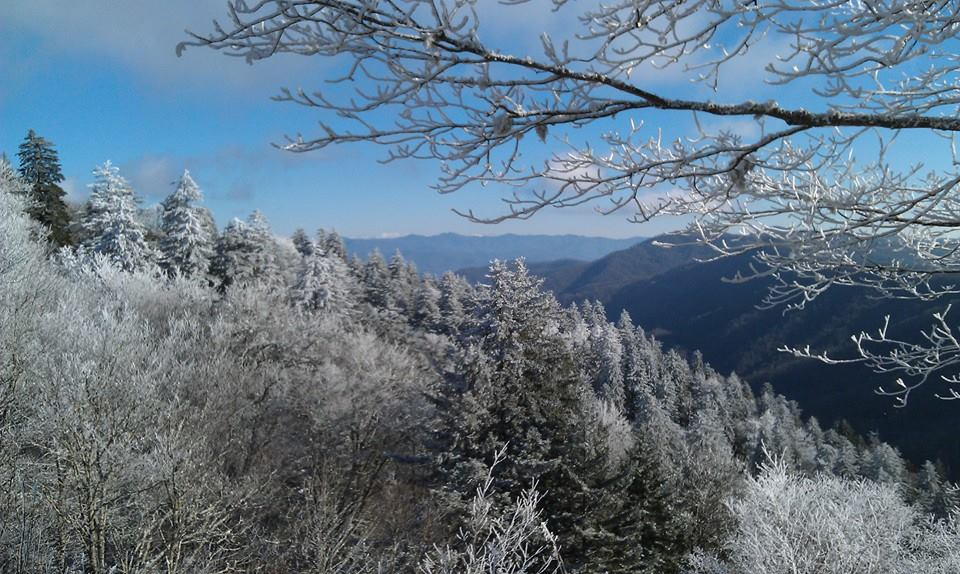 Newfound Gap in the Smoky Mountains covered in snow.