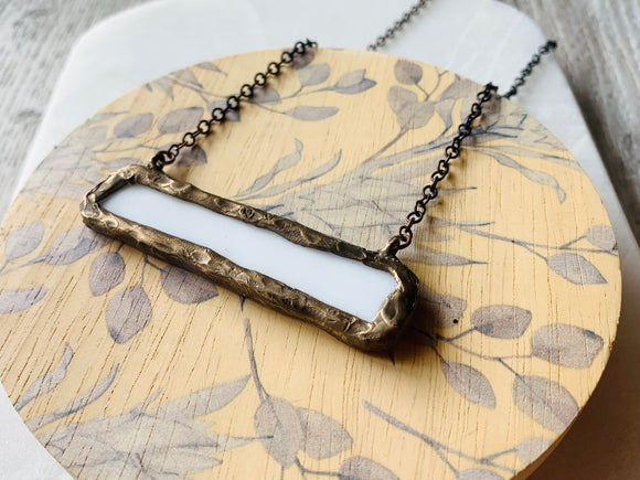 White Glass Bar Necklace