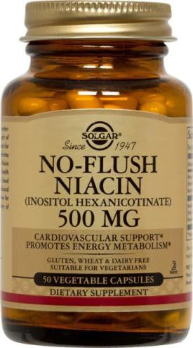 No-Flush Niacin 500 mg Vegetable Capsules (Vitamin B3) (Inositol Hexanicotinate) (50)