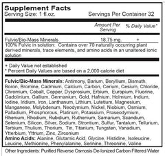 Fulvic Mineral Complex Nutrition Facts Vital Earth Minerals