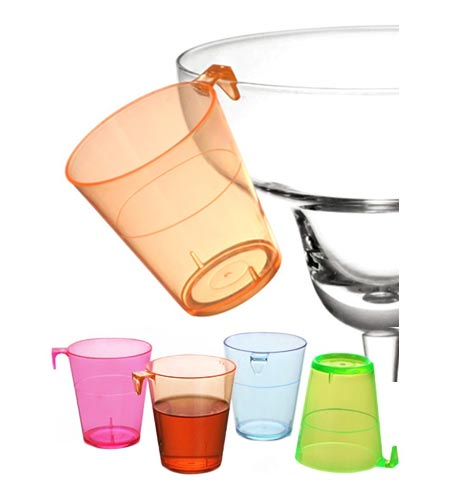 2OZ ASSORTED PLASTIC SHOT GLASS WITH HOOK