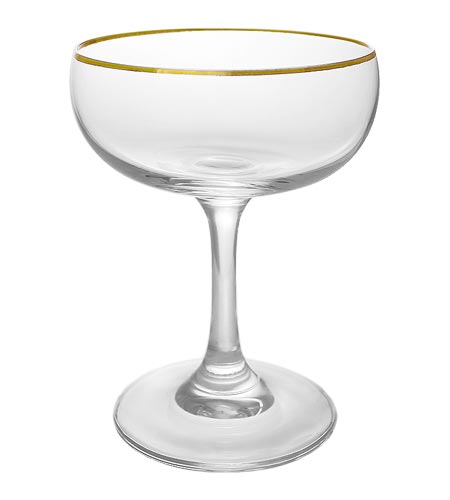 BarConic Gold Rimmed Coupe Cocktail Glass - 7 oz - CASE OF 24