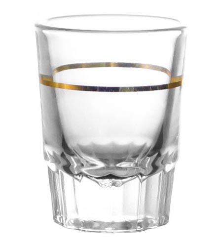BarConic 2 oz Shot Glass with Gold 1 oz Measure Line - CASE OF 72