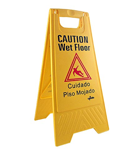Yellow Wet Floor Caution Sign - CASE OF 4