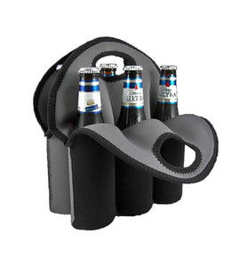 Beer Tote - Black Neoprene 6 Pack - CASE OF 12