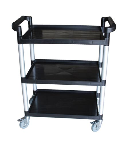 BarConic 3 Tier Black Plastic Bus Cart - CASE OF 1
