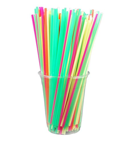 8 INCH COLLINS STRAWS - CASE OF 10 / 500 PACKS