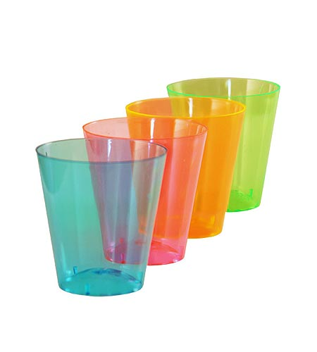 BarConic Assorted Neon Shot Cups - 2oz - CASE OF 36 / 60 Packs