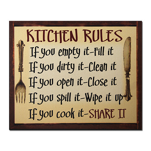 CHWP28 Kitchen Rules Wall Plaque