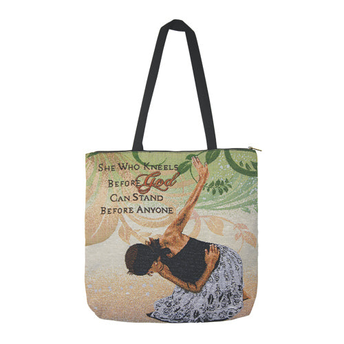 WTB02 She Who Kneels Woven Totebag