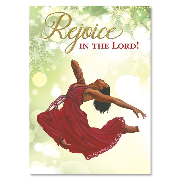 C951 Rejoice in the Lord Red Dancer Christmas Card