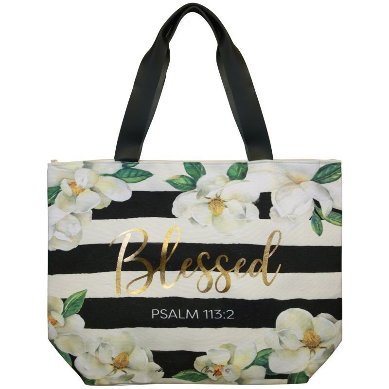 CHB07 Blessed Magnolia Canvas Handbag