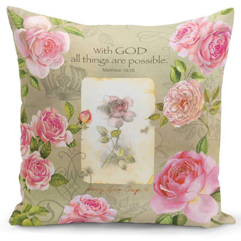 PC07 With God (Pink Roses) Pillow Cover
