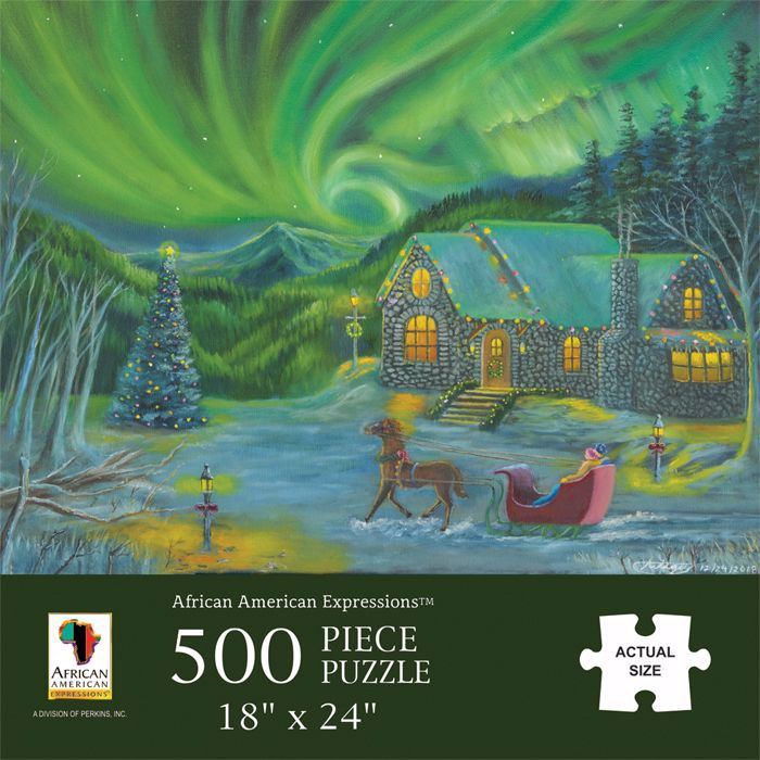 PUZ24 Northern Lights Christmas Scene Puzzle