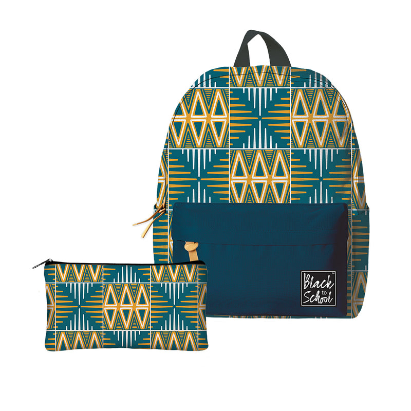 BP01 Blue and Yellow Mudcloth Backpack Set