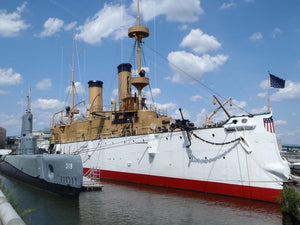 Cruiser OLYMPIA, Submarine BECUNA at Independence Seaport Museum.  Penns Landing Philadelphia.