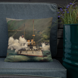 Cruiser OLYMPIA Washington's Birthday Throw Pillow
