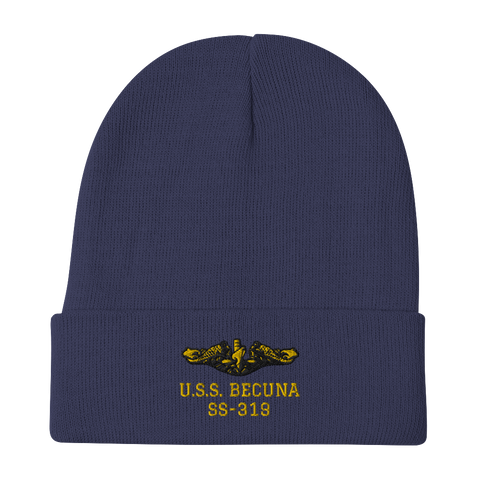 Submarine BECUNA Embroidered Navy Knit Watch Cap