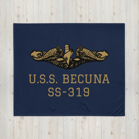 Submarine BECUNA Gold Warfare Insignia Throw Blanket