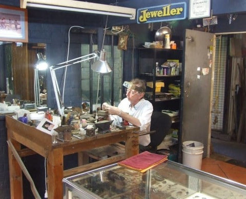 Mac working in his shop in Bellingen