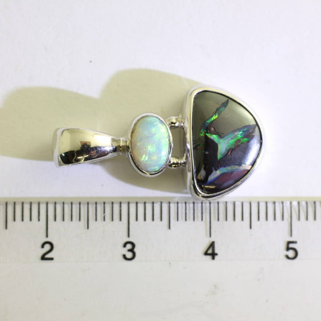 Boulder Matrix and Solid White Opal Pendant