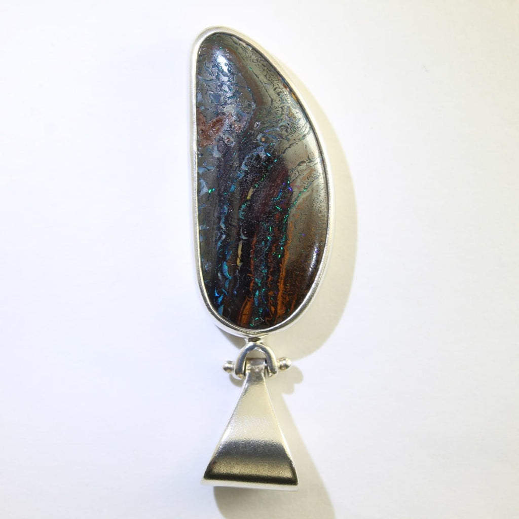 Green & Blue Boulder Matrix Opal Pendant