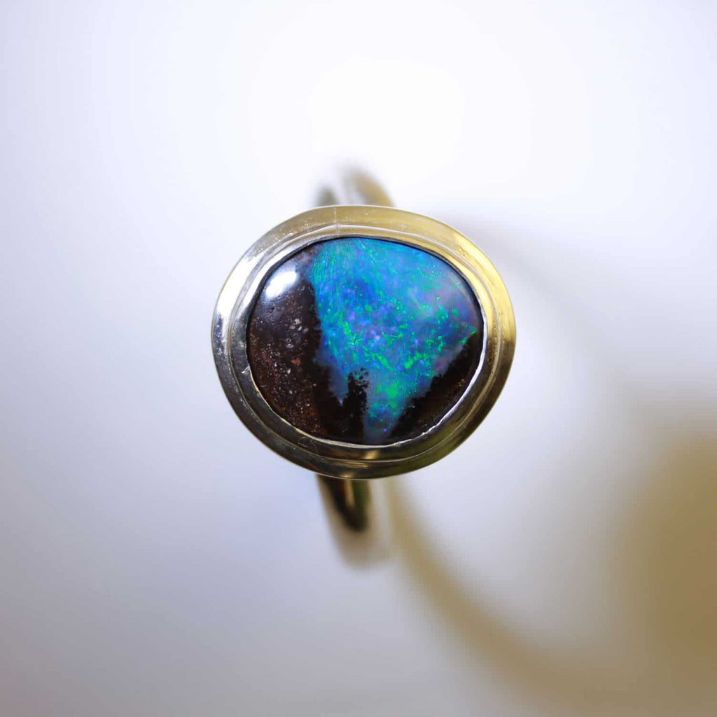 Blue, Green & Red Solid Boulder Opal Ring in Sterling Silver