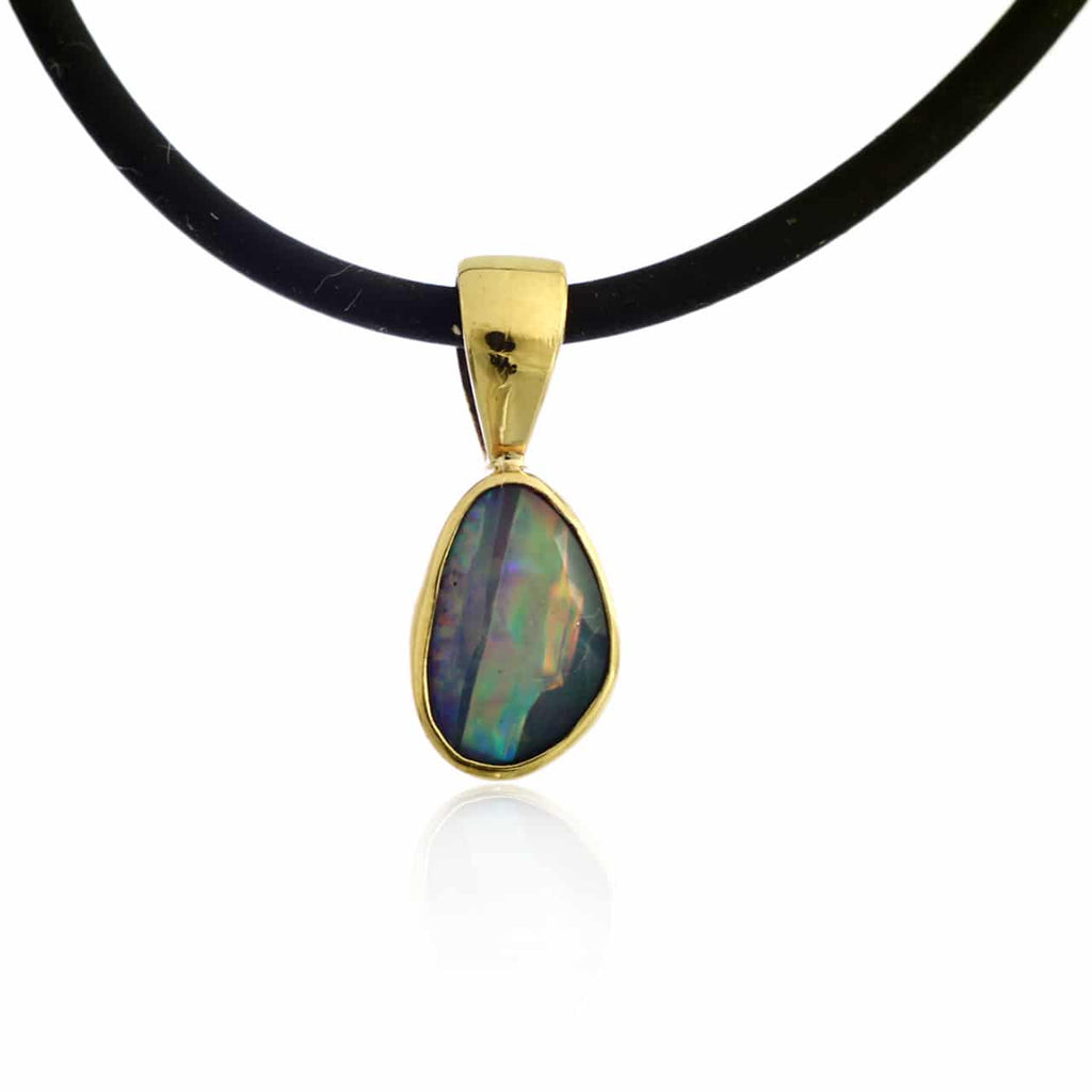 Blue, Green & Red Doublet Opal Pendant
