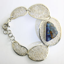 Load image into Gallery viewer, Blue, Green & Purple Solid Boulder Opal Bracelet