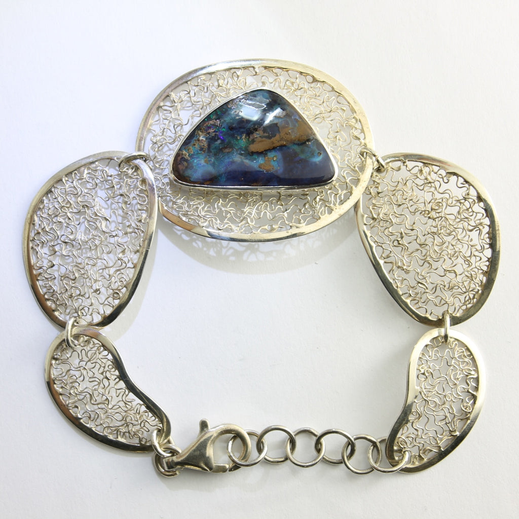 Blue, Green & Purple Solid Boulder Opal Bracelet