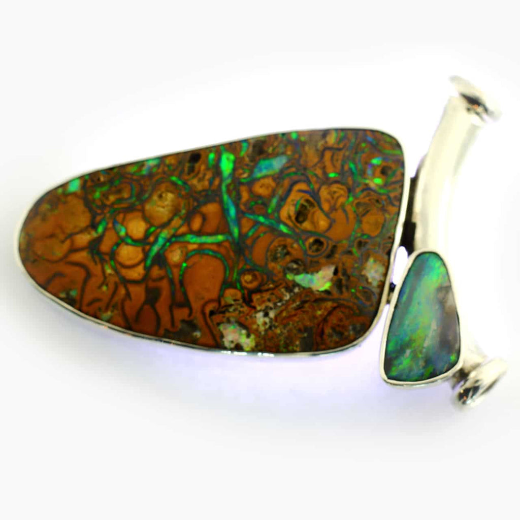 Blue, Green & Red Solid Boulder Opal Pendant