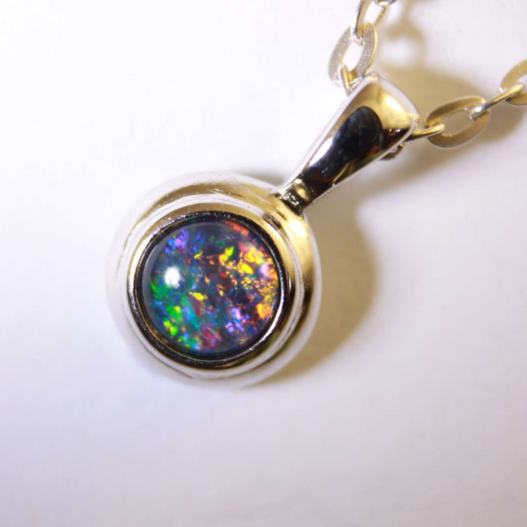 Blue and Red Triplet Opal Pendant in Double Bezel Sterling Silver